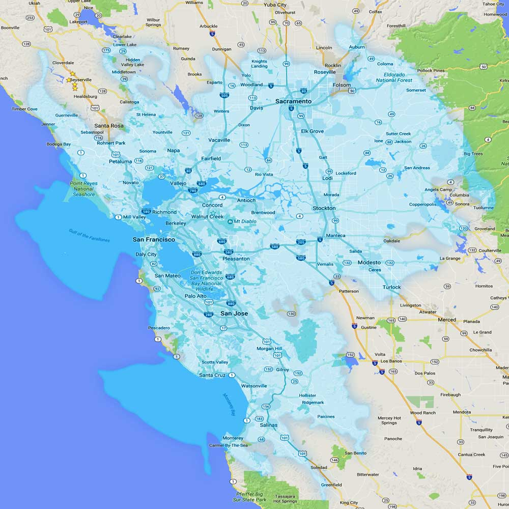 Map Of California Bay Area.Site Coverage Maps Rfc Wireless